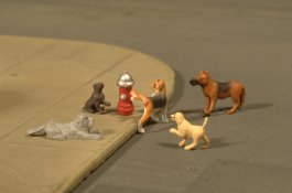 Dogs with Fire Hydrant - O Scale