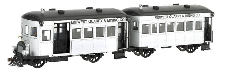 Midwest Quarry & Mining Co. Rail Bus & Trailer -DCC - Click Image to Close