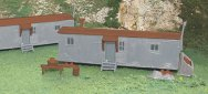 Railroad Work Sheds - Gray & Oxide Red (HO Scale)