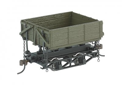 Wood Side-Dump Car Green (3 Box)
