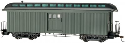 Olive, Unlettered - Baggage Car w/ Lighted interior