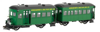 Greenbrier & Big Run Lumber Co. Rail Bus & Trailer -DCC