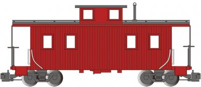 Painted, Unlettered - Red - Eight-Wheel Center-Cupola Caboose
