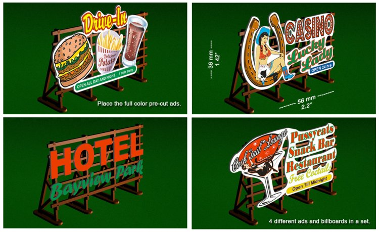 HO Laser-Cut Outdoor Billboard Kit (4 per pack) - Click Image to Close