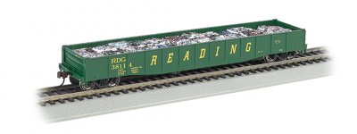 "Reading (Grn/Yel) - 50'6"" Drop End Gondola w/ Crushed Cars Load"