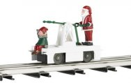 Operating Handcar - Christmas Santa & Elf