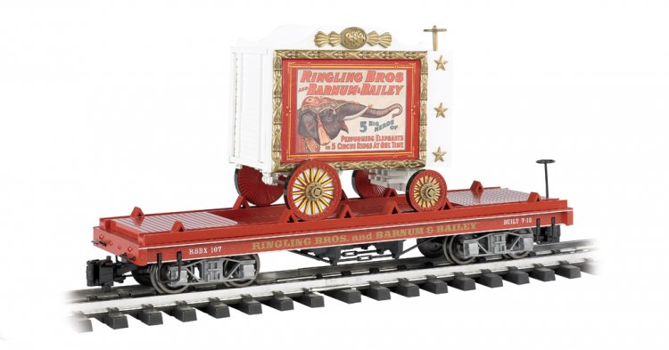 Flat Car W/Tableau Wagon - Performing Elephants #107 - Click Image to Close