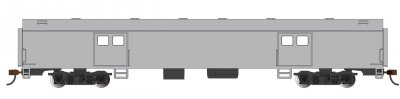 Painted, Unlettered - Aluminum - 72 Ft Smooth-Side Baggage Car