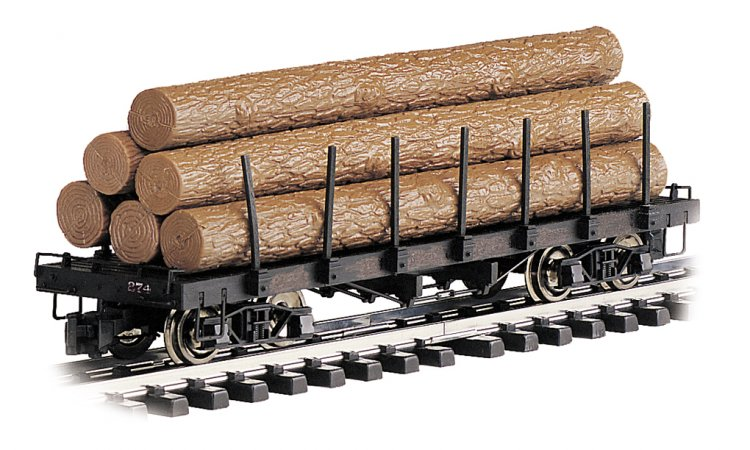 Flat Car with Logs (Large Scale) - Click Image to Close