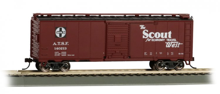 Scout 40' Santa Fe Map Box Car (HO Scale) - Click Image to Close