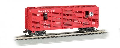 Santa Fe - 40ft Animated Stock Car w/ Cows (HO Scale)