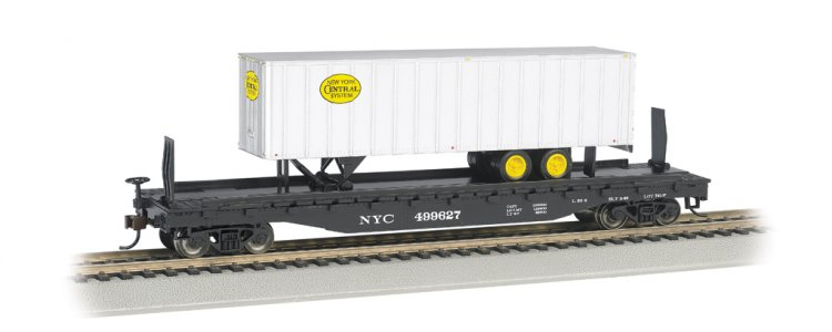 New York Central 52ft flat car w/ NYC® 35ft Trailer (HO Scale) - Click Image to Close