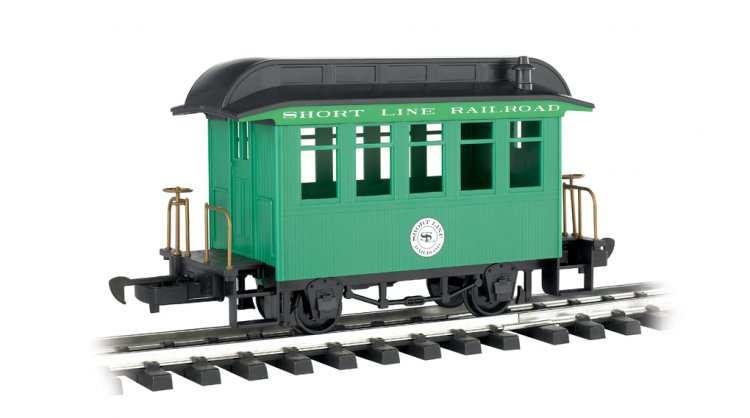 Coach - Short Line Railroad - Green With Black Roof - Click Image to Close