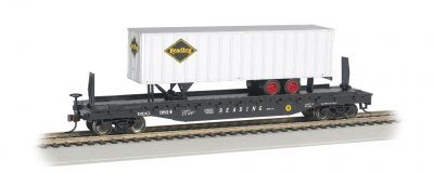 Reading 52ft flat car w/ Reading 35ft Trailer (HO Scale)