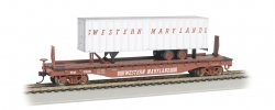 Western Maryland® 52ft flat car w/ WM 35ft Trailer (HO Scale)