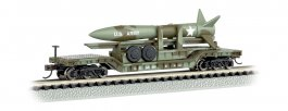 52' Center-Depressed Flat Car - Olive Drab Military w/ Missile