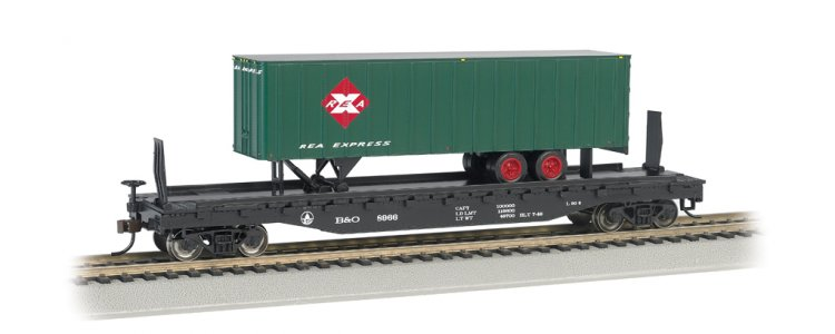 B&O® 52ft flat car w/Railway Express Agency 35ft Trailer (HO) - Click Image to Close