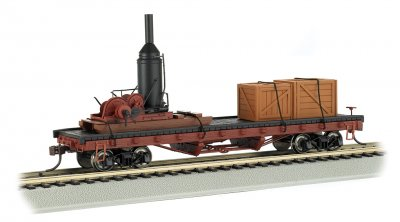 Log Skidder (non-operating) with Crates on 40' Log Car(HO Scale)