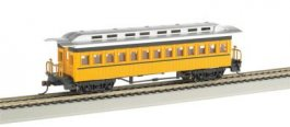 Coach (1860-80 era) - Painted Unlettered Yellow (HO Scale)