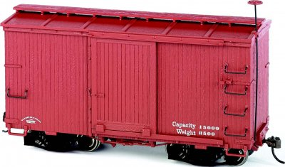 18 ft. Box Car W/ Murphy Roof - Oxide Red, Data Only (2 per box)