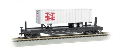 New Haven 52ft flat car w/ New Haven 35ft Trailer (HO Scale)