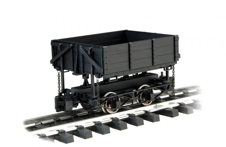 Side-Dump Car - Black (Large Scale) - Click Image to Close