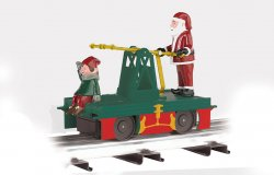 Operating Handcar - Christmas Santa & Elf- Green, Red & Gold