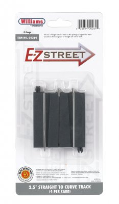 "E-Z Street 2.5"" Straight To Curve Track (4/Card)"