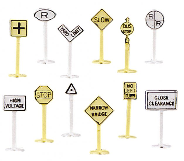 Railroad and Street Signs (24 pieces) - Click Image to Close