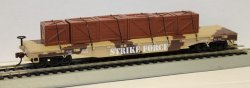 "Flat Car - 52' ""Strike Force"" w/crated load"