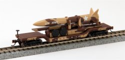 52' Center Depressed Flat Car - Desert Military w/Missile