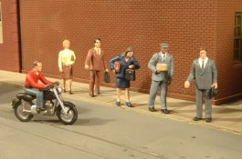 City People with Motorcycle - HO Scale