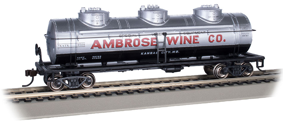 Ambrose Wine Co. #7501 - 40' Three-Dome Tank Car (HO Scale)