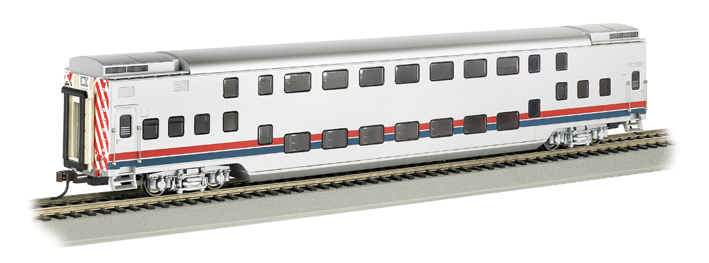 Silver Unlettered w/ Red/Blue Stripes - Double Deck Commuter Car