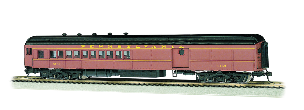 Bachmann 13607 HO 72' Heavyweight Combine w/Round Door Window Pennsylvania #5159 Postwar Tuscan Duluxe