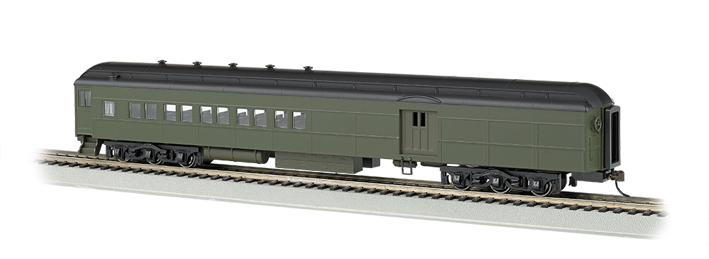 Bachmann 13608 HO 72' Heavyweight Combine w/2-Window Door Painted Unlettered Pullman Green