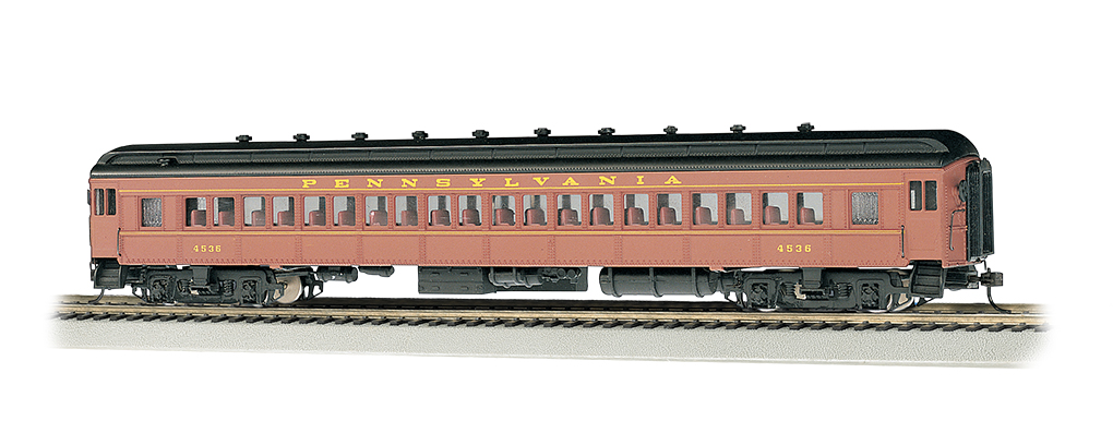 PRR Postwar #4536 Tuscan red/yel - 72' Coach (HO Scale)
