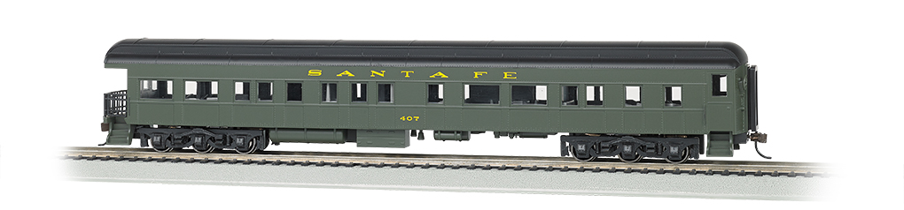 Bachmann 13801 HO 72' Heavyweight Observation Santa Fe #407 Pullman Green