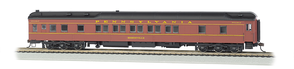 Bachmann 13902 HO 80' Heavyweight Pullman Sleeper w/LED Lighting Pennsylvania Tuscan Black