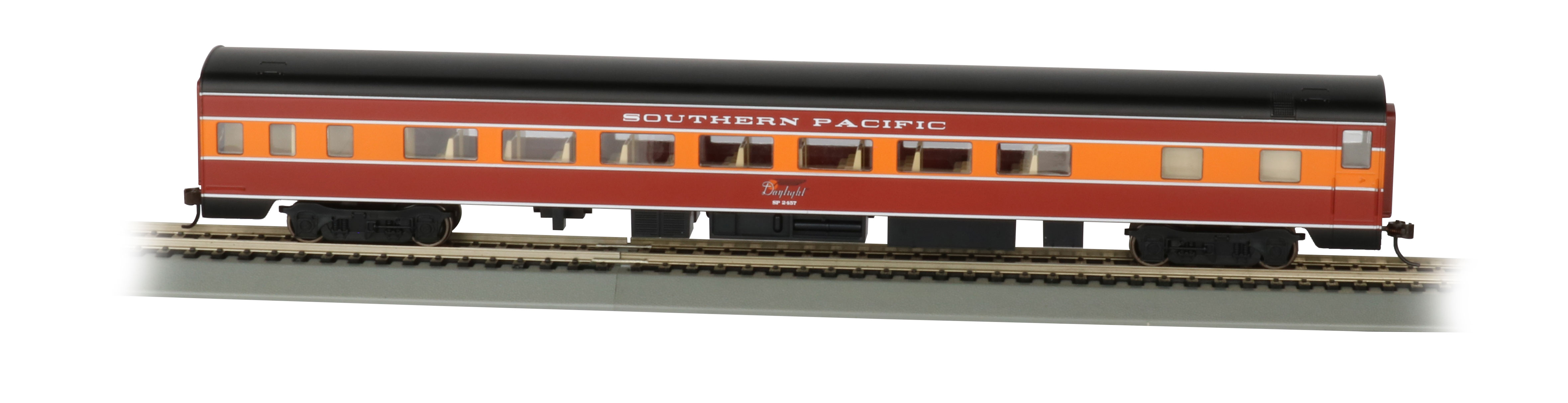 Bachmann 14207 HO 85' Smooth-Side Coach w/Lights Southern Pacific Daylight