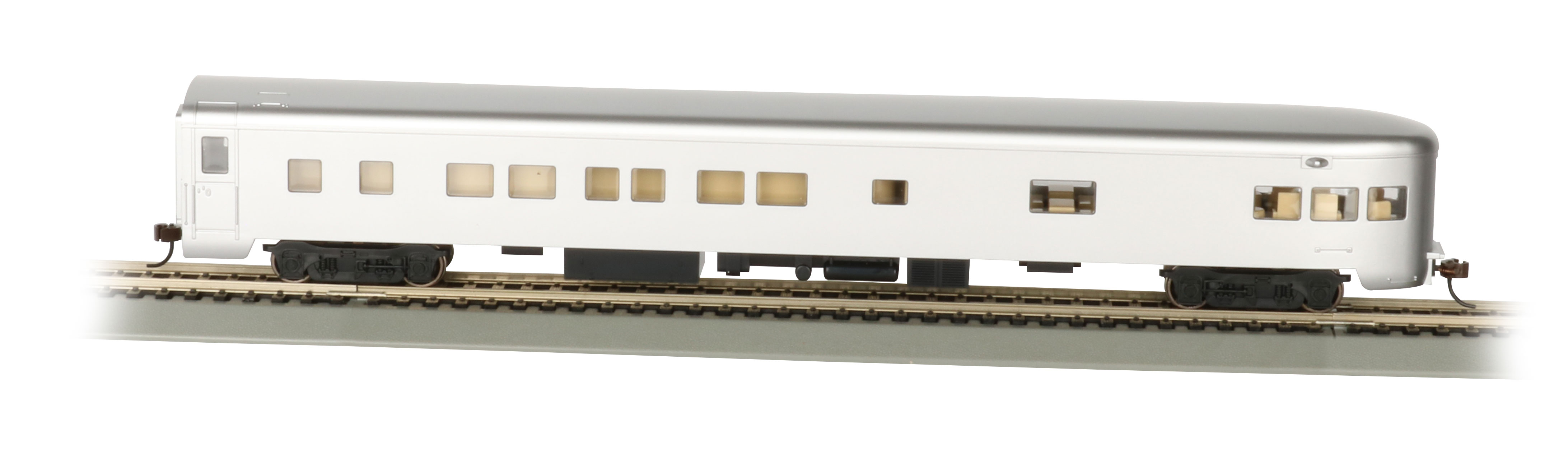 Bachmann 14308 HO 85' Smooth-Side Observation w/Lights Painted Unlettered Aluminum