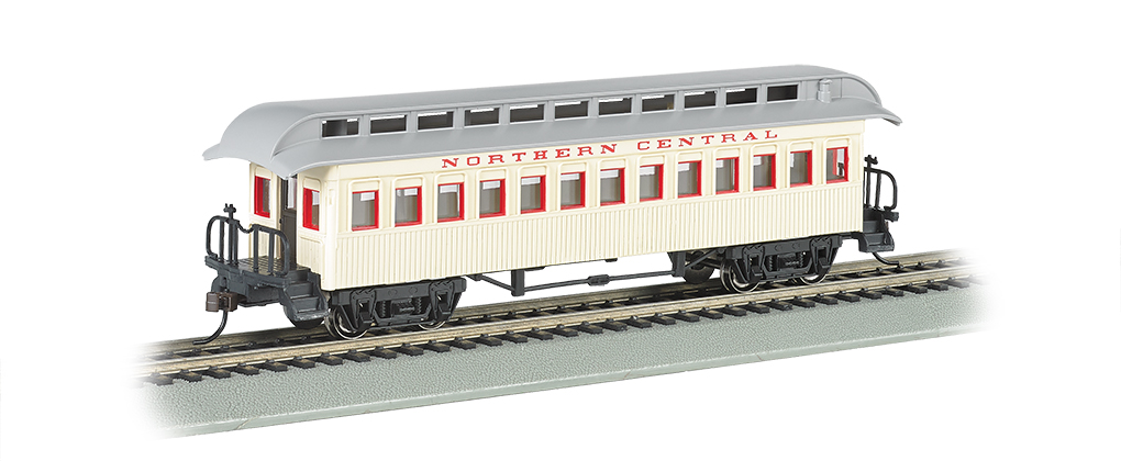 Bachmann 15103 HO Old Time Wood Coach w/ Round-End Clerestory Roof Northern Central