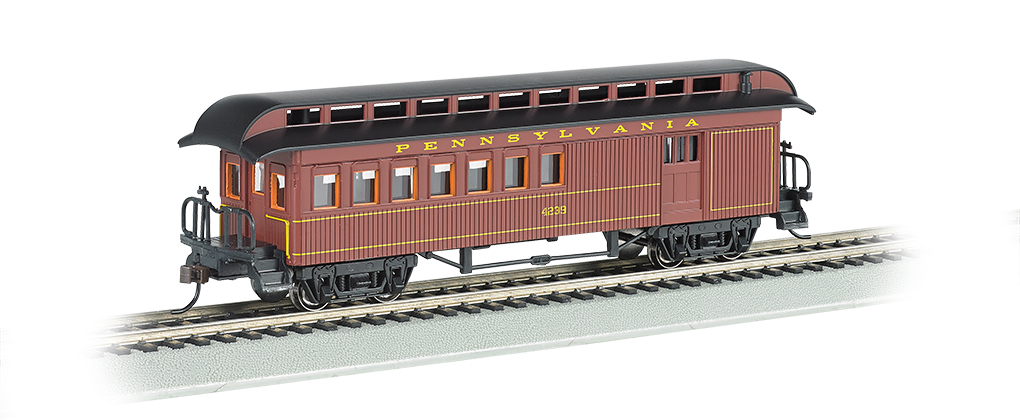 Bachmann 15202 HO Old Time Wood Combine w/ Round-End Clerestory Roof Pennsylvania Tuscan