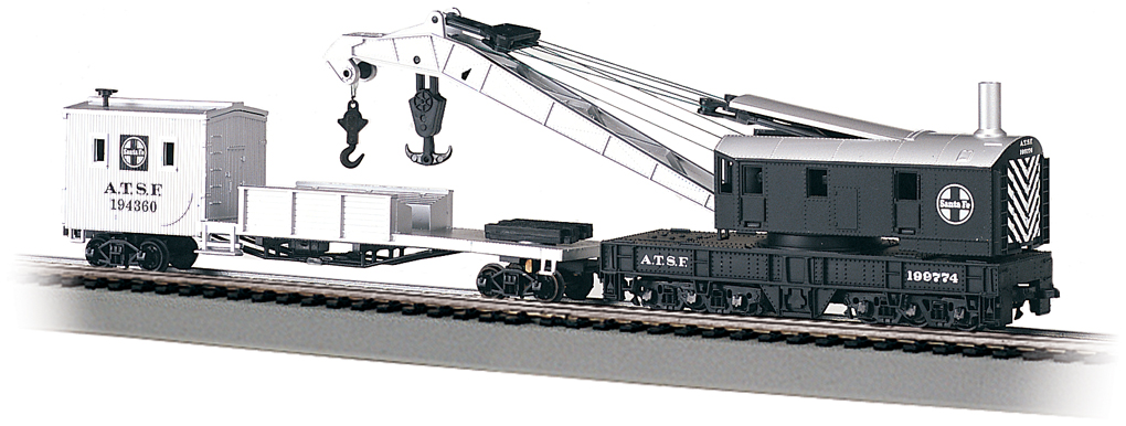 Santa Fe - 250-Ton Steam Crane & Boom Tender (HO Scale)