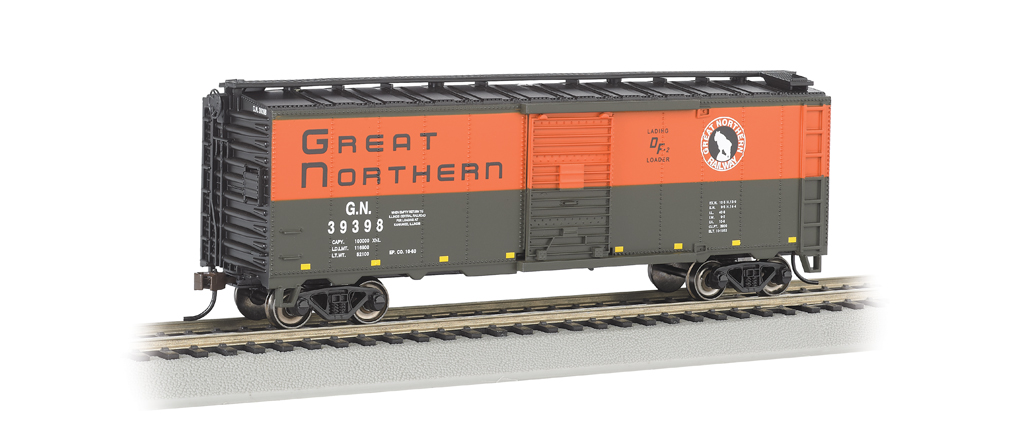 Great Northern (green & orange) 40' Box Car (HO Scale)