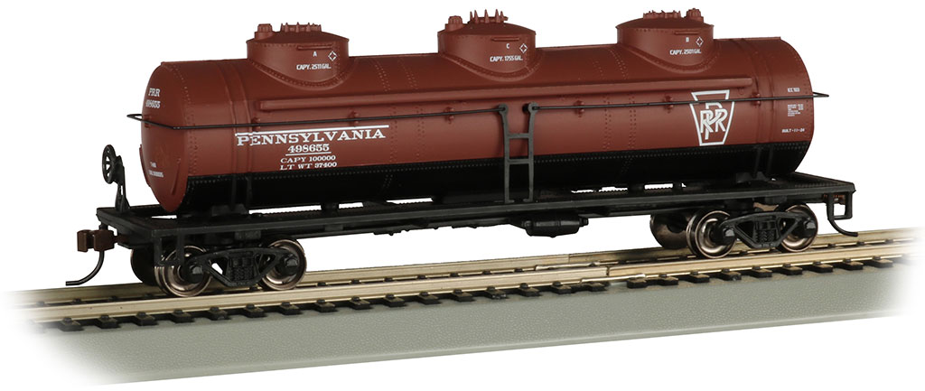 Pennsylvania #498655 - 40' Three Dome Tank Car (HO)