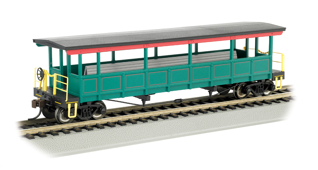 Painted, unlettered-Red/Green/Gold - Open-Sided Excursion Car(HO