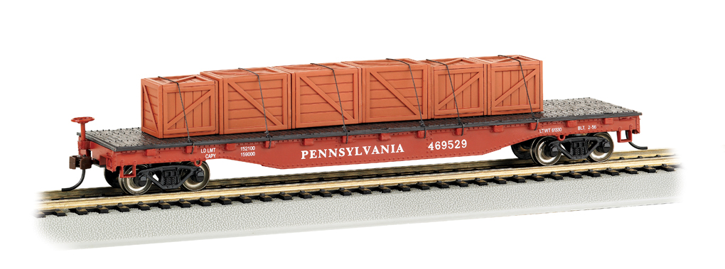 Flat Car - 52' Pennsylvania w/ Crated Load