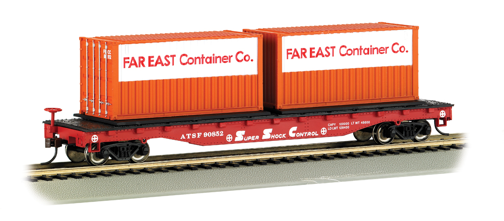 Santa Fe w/ Container Load on 52' Flat Car