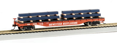 Flat Car - 52' Western Maryland® w/ Steel Load